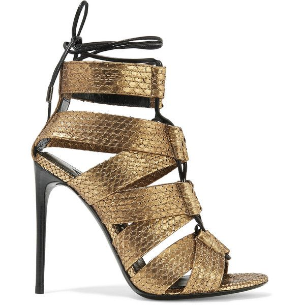 TOM FORD Lace-up metallic python sandals ($1,950) ❤ liked on Polyvore featuring shoes, sandals, gold, heels, high heel stilettos, stiletto sandals, caged high heel sandals, tom ford sandals and leather shoes