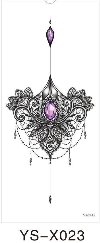 1pc Chest Flah Tattoo 24models large flower shoulder arm Sternum tattoos henna body/back paint skull rose necklace Black Fire