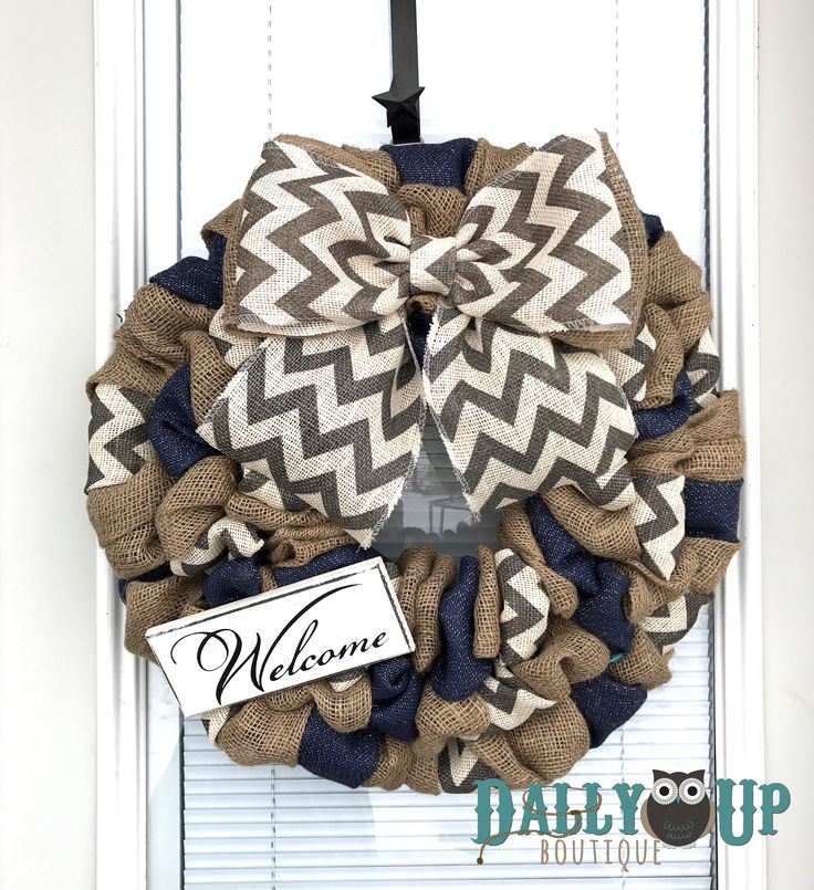 Burlap Wreath, Natural and Navy- Gray Chevron Burlap Wreaths, Wreath for All Year, Welcome Wreath, Navy Wreath,Chevron Burlap by DallyUpBoutique on Etsy