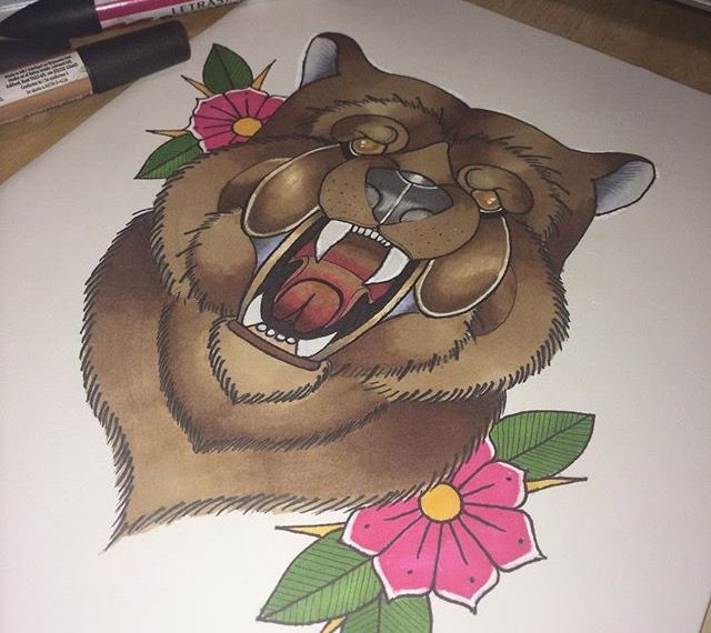 Traditional style tattoo drawing with promarkers #promarkers #drawing #traditional #tattoo #oldschool #bear #flowers #colour #art #artwork