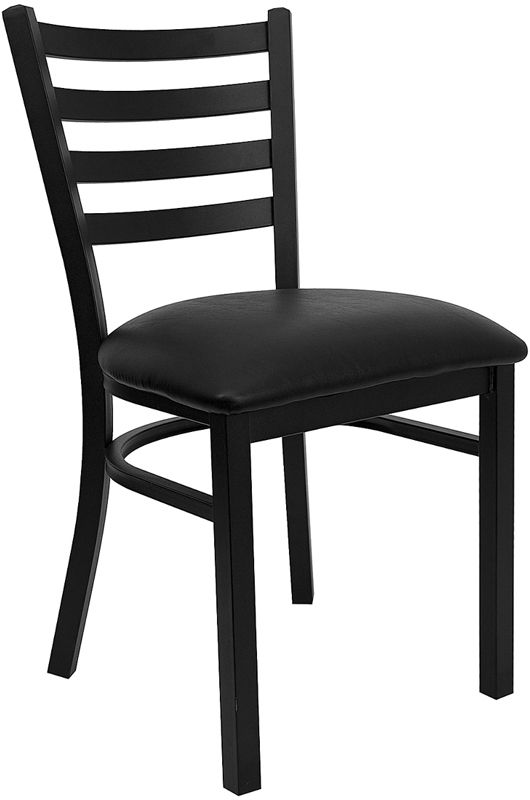 HERCULES Black Ladder Back Metal Restaurant Chair with Black Vinyl Seat