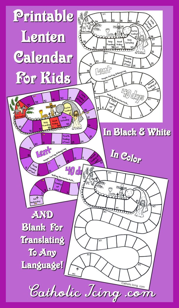 printable Lenten calendar for kids