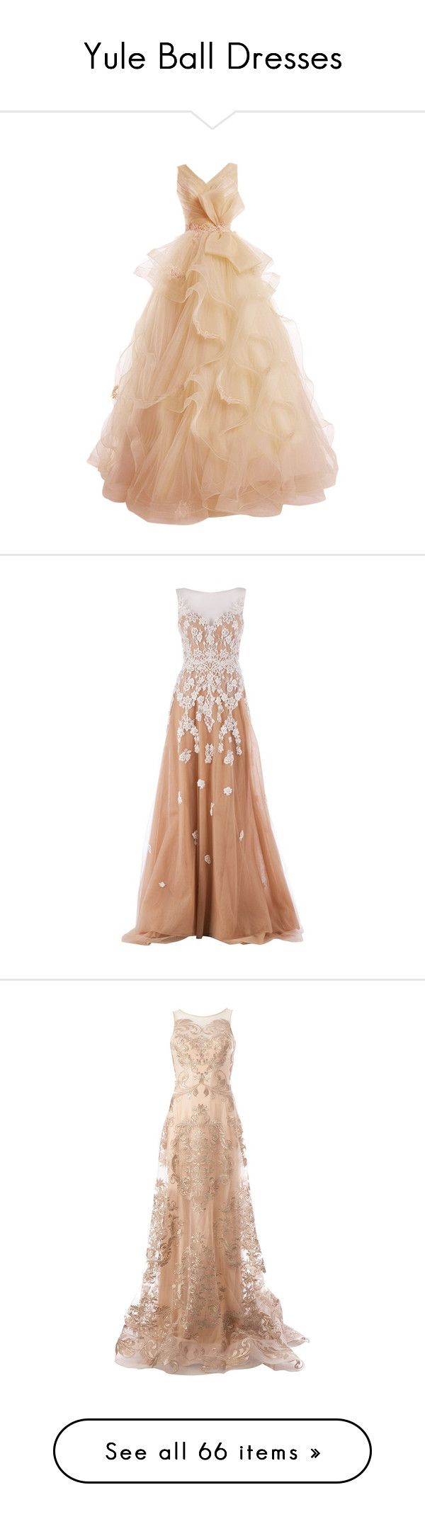 """Yule Ball Dresses"" by shamrocker17 on Polyvore featuring dresses, gowns, vestidos, long dresses, lace gown, long evening dresses, prom ball gowns, evening gowns, long beige dress and zuhair murad gowns"
