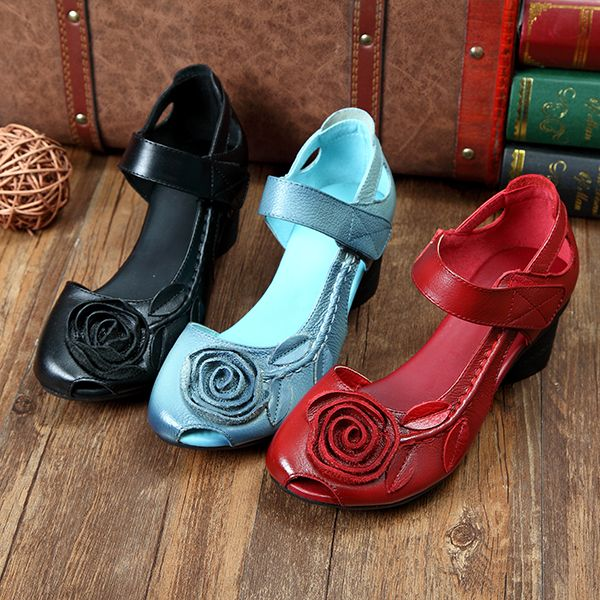 SOCOFY Genuine Leather Floral Leaf Decoration Block Hook Loop Vintage Shoes