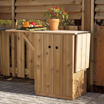 this service cart is an ideal weekend project for all DIYers.    This back yard service cart  It is equipped with a cabinet and foldable shelves, providing sufficient storage for dishes and utensils as well as a work surface for outdoor food preparation. Made of solid cedar, its natural resistance to weather and wood-boring insects means you'll enjoy it for years to come.