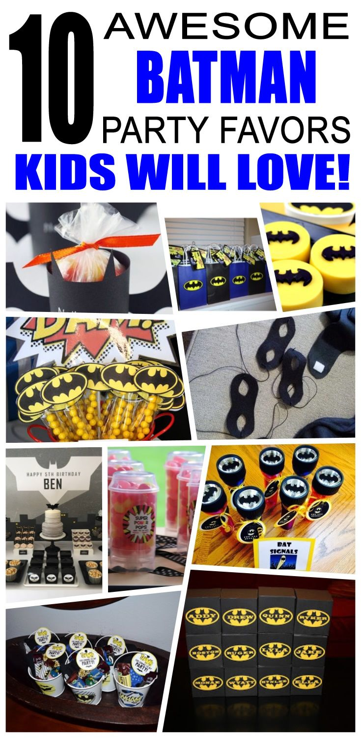 Batman party favors kids will love. Fun and cool batman birthday party favor ideas for children. Easy goody bags, treat bags, gifts and more for boys and girls. Get the best batman birthday party favors any child would love to take home. Loot bags, loot boxes, goodie bags, candy and more for batman party celebrations.