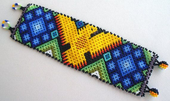Mexican Huichol Beaded Eagle and Peyote  Bracelet by Aramara