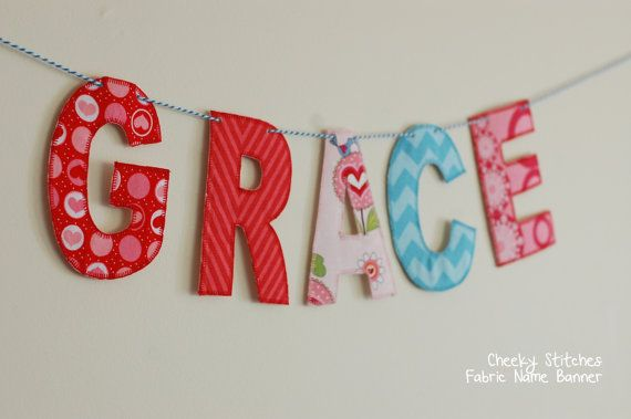 Fabric Name Banner  Personalized Name Banner  by CheekyStitches, $19.50