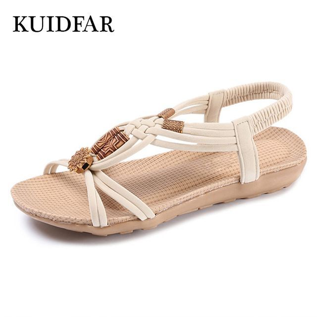 Price Drop $7.34, Buy KUIDFAR 2017 Women Sandals Plus Size 36-42 Summer Shoes Woman Fashion Flip Flops Ladies Shoes Sandalias Mujer Black beige