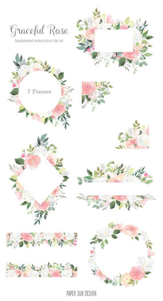 Watercolor Floral Frame Clipart Flower Borders And Frames For