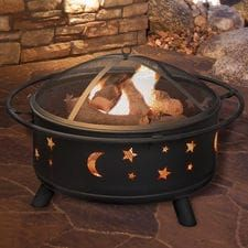 "30"" Round Star & Moon Firepit with Cover - Black"