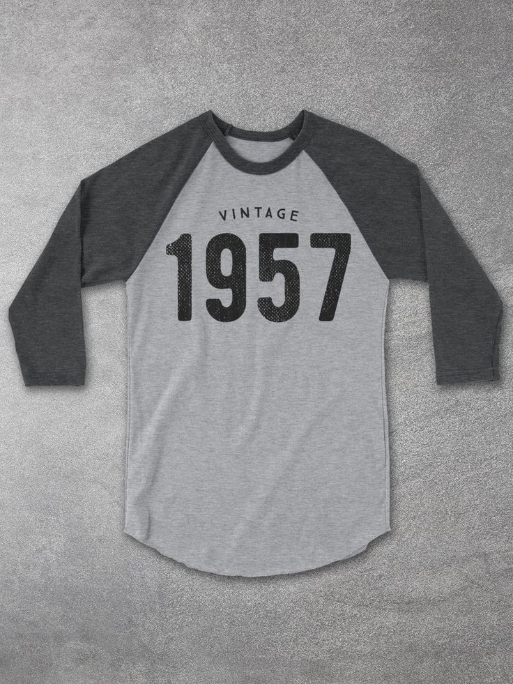 Looking for unique 60th birthday gift ideas? Give the gift of a VINTAGE 1957 Baseball Tee by Hello Floyd. This casual raglan, 3/4 sleeve tee is the perfect gift for both women and men celebrating a 60th birthday!