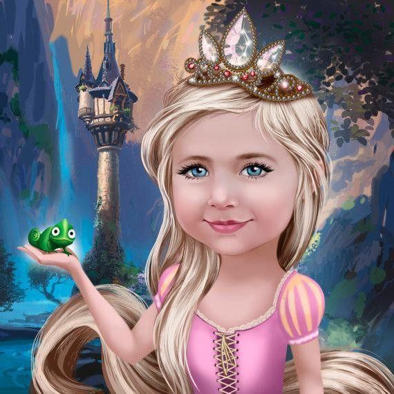 Illustrationen - Personalisiertes Portrait im Disney-Stil nach Foto - ein Designerstück von AndreasPet bei DaWanda