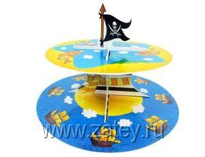 Стойка для кексов 2 ярус Маленький Пират Украшение стола