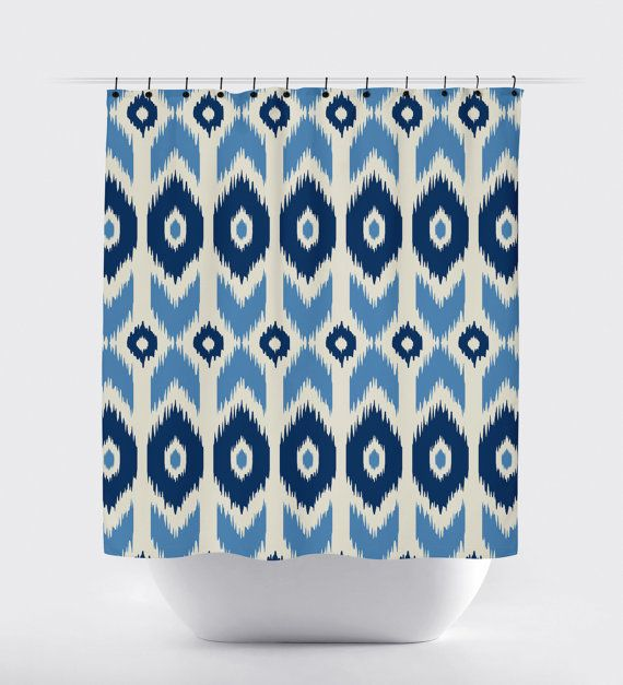 beautiful aztec blue tan shower curtain,  high quality fabric shower curtain