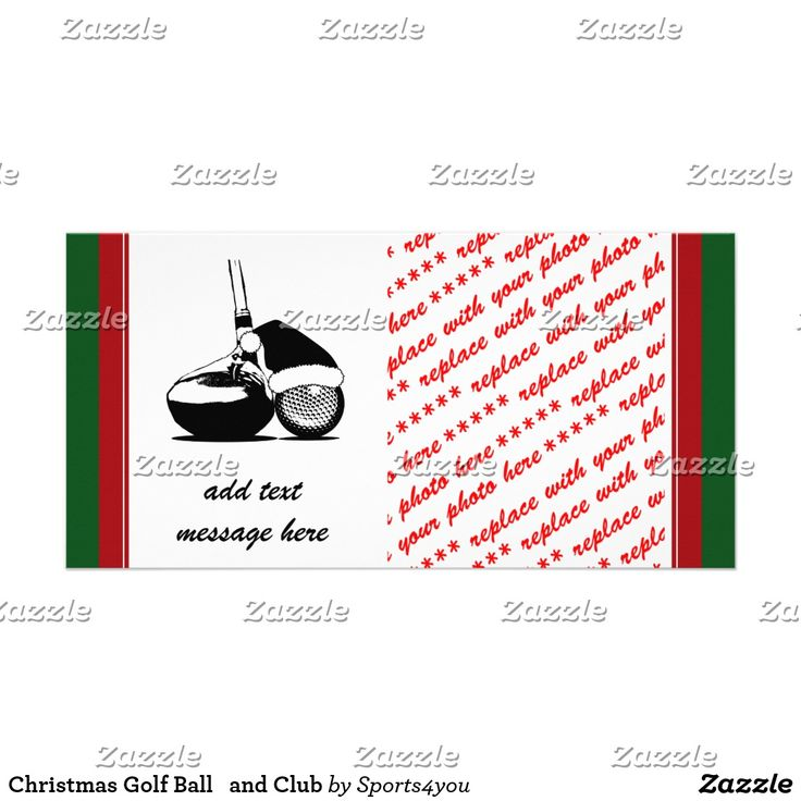 Christmas #Golf Ball   and Club Card - Hey, Golfers and Golf Fans! You can customize this item by adding text, a photo or resizing the image to be larger, smaller, or tiled to fill the entire area! - #sports4 #golfing #golfcard #christmascardyou #gravityx9