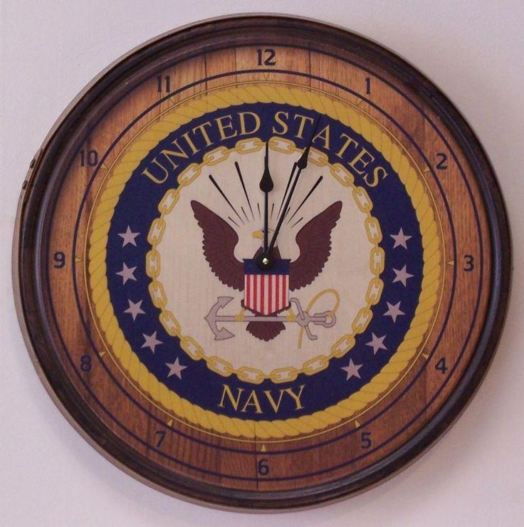 Navy Emblem Barrel Head Wall Clock-FREE SHIPPING #AuntMollysBarrelProducts