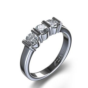 This stunning 14 karat white gold diamond ring is sophisticated and stylish. The three evenly sized diamonds, totaling 1/2 carat, are gracefully set between bars for a clean, contemporary look.