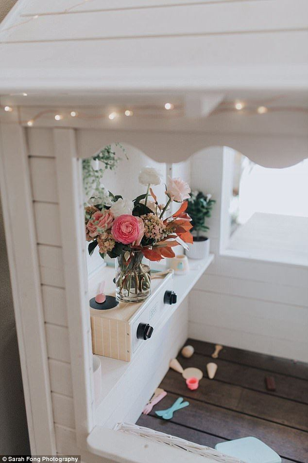 Kristen Eramiha, from Perth, purchased a $199 cubby house from the September catalogue for her daughter Quinn's third birthday party and transformed it into a stylish mini cafe.