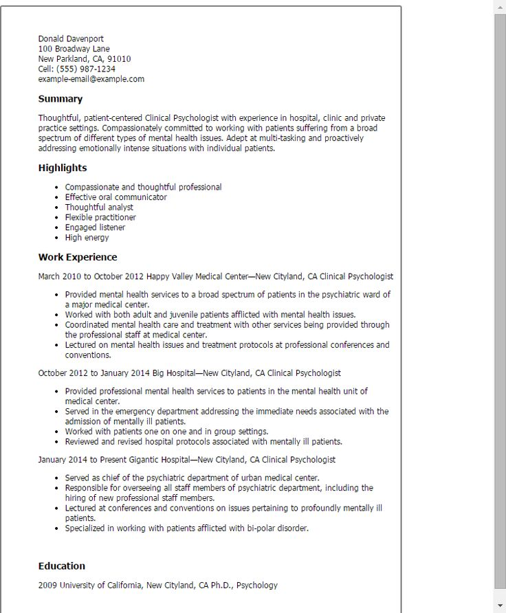Psychologist Resume Resume Templates Clinical Psychologist  Resume  Pinterest .