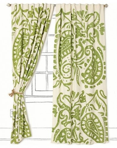 Contemporary window treatments sewsisters pinterest - Green curtain patterns ...