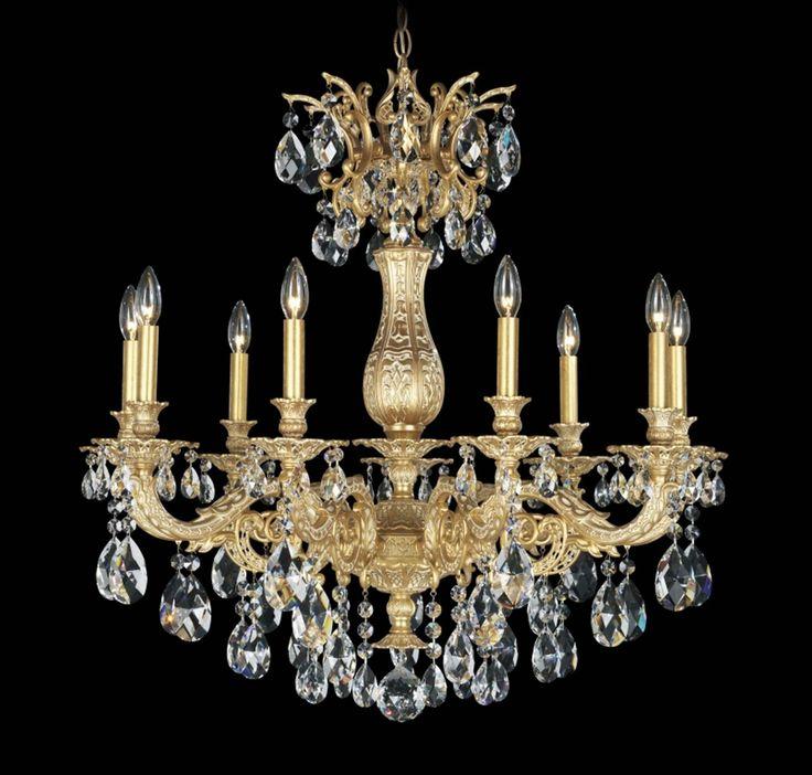 Schonbek Milano 9-Light Chandelier in Parchment Gold in Brands, Schonbek Lighting, Schonbek Chandeliers: LightsOnline.com