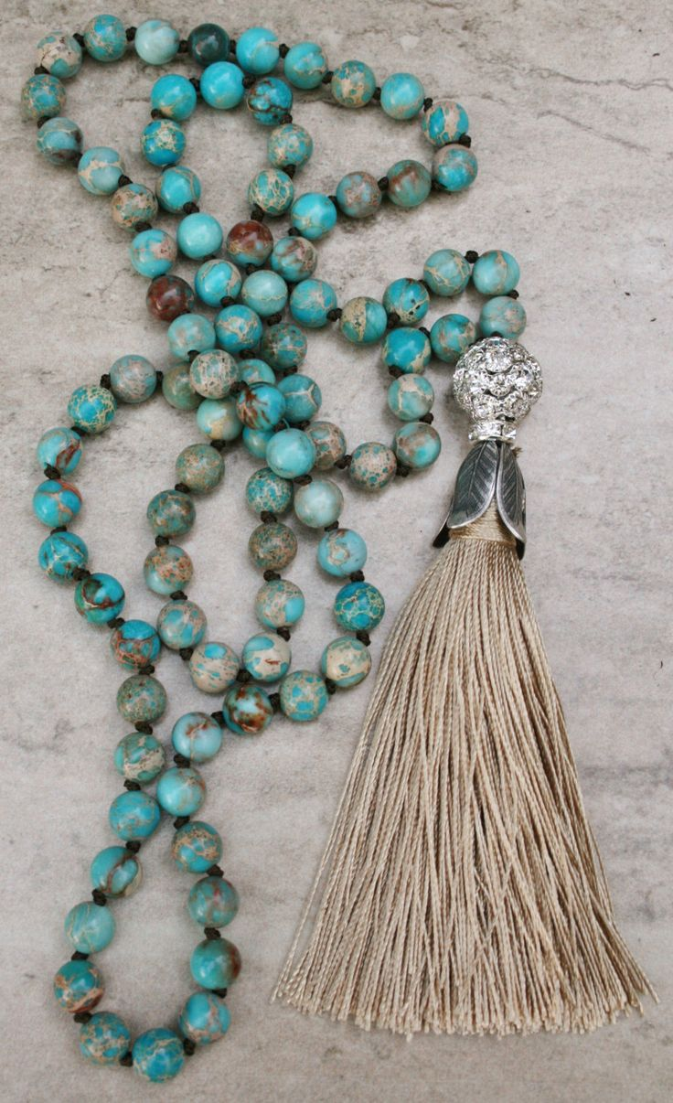 Boho Beaded Tassel Necklace, Long Bead Statement Necklace, Semi Precious Gemstones, Beach Jewelry, Handmade, Hand Knotted, Festival Jewelry by FlowersInMyHairShop on Etsy https://www.etsy.com/listing/238694203/boho-beaded-tassel-necklace-long-bead
