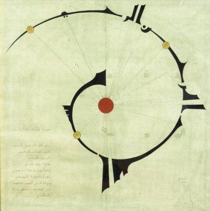 SHAMUSTOV (né en 1961) Bismillah en coufique, autour d'un point rouge symbolisant le Centre du Monde. Cette représentation de la Bismillah fait allusion à une croyance traditionnelle prophétique disant que la Vie a débuté par le tracé du point sous la première lettre du mot Bismillah (la lettre arabe ba). A gauche, la Fatiha sur 10 lignes. Signée et datée 1998, en bas à droite. Publié dans Slovo i obraz v Tatarskom shamaile, Kazan, 2003.