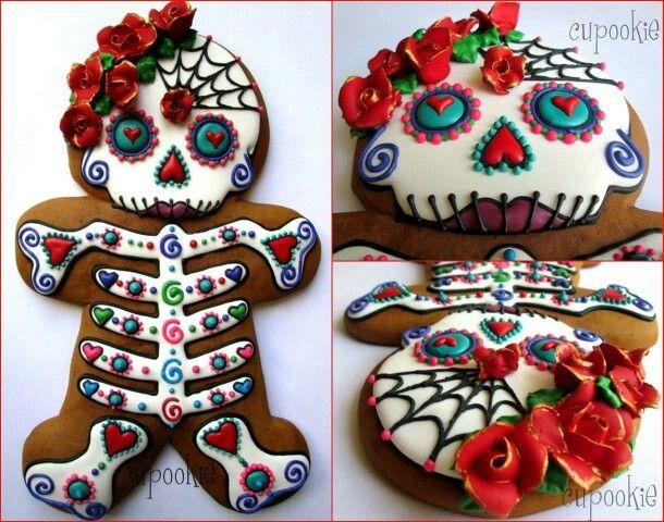 sugar skull gingerbread woman - Mexican Halloween Skulls