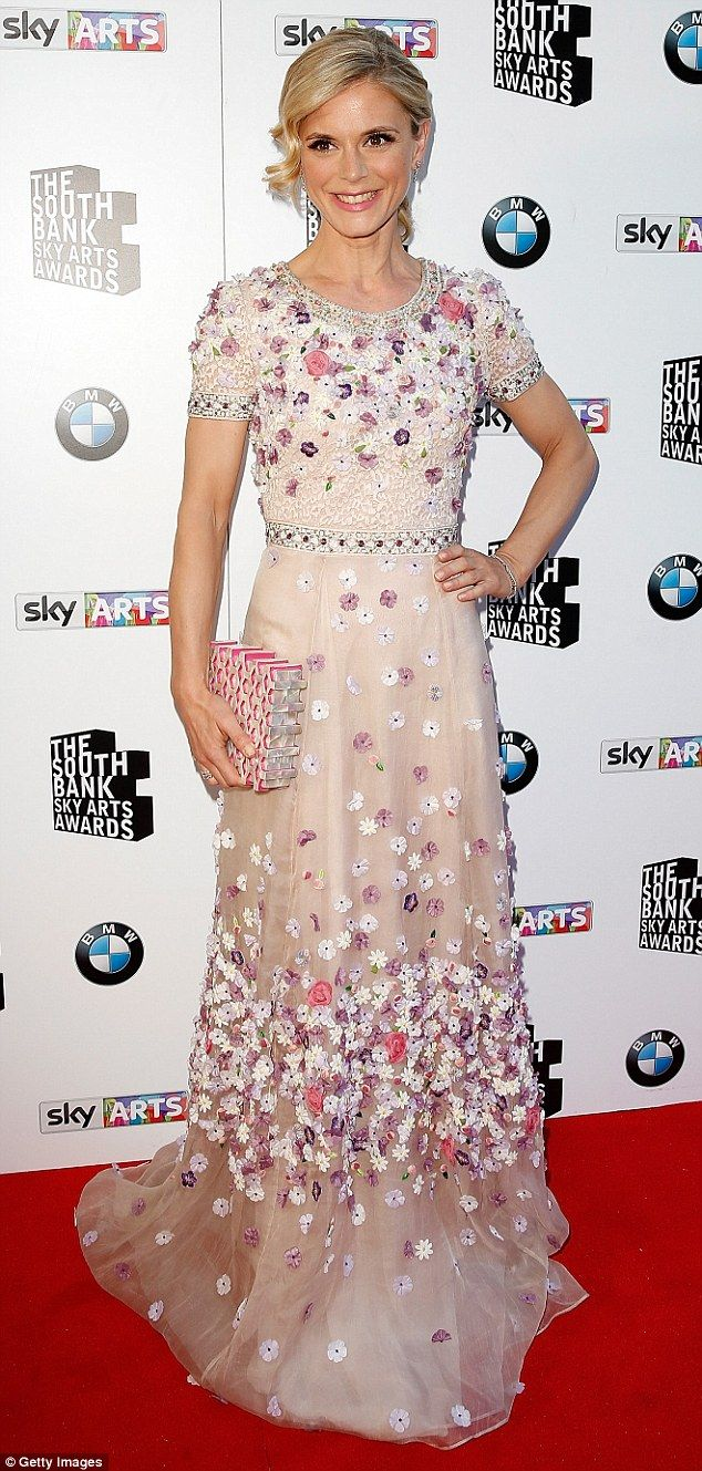 Blooming lovely: Silent Witness' Emilia Fox stunned in an floor length light pink dress...