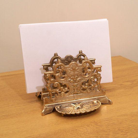 11 best images about letter holders brass and other for Vintage letter holder desk