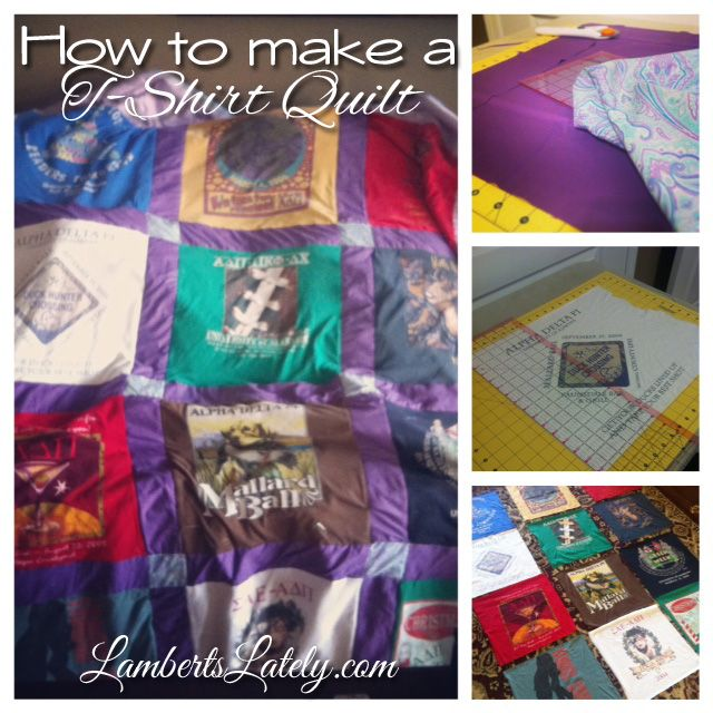 Step by step instructions to (finally) make that t-shirt quilt!  Includes supplies needed and pictures along the way.