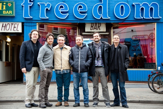 'Filth' - Jens Meurer, James McAvoy, Eddie Marsan, Jon S. Baird, Ken Marshall and Artur Walther on the set of the movie Filth at Freedom Bar in Hamburg, Germany on March 11, 2012