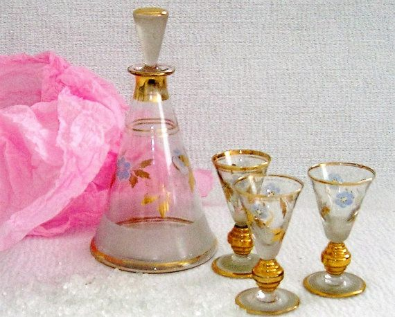 Service collection liquor bottle and 3 glasses liqueur vintage decorated #VintageSyell #Etsy