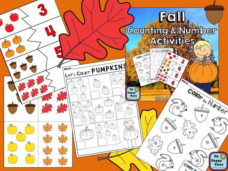 Fall Numbers and Counting Activities, Kindergarten Autumn Math, subitizing, number puzzles, worksheets, $