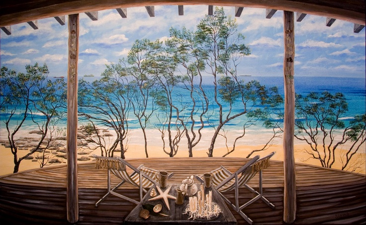 The Beach House @ Forresters: large painting on canvas of a beautiful modern house built by some of my best customers. This was their view and veranda on the Central Coast of NSW.
