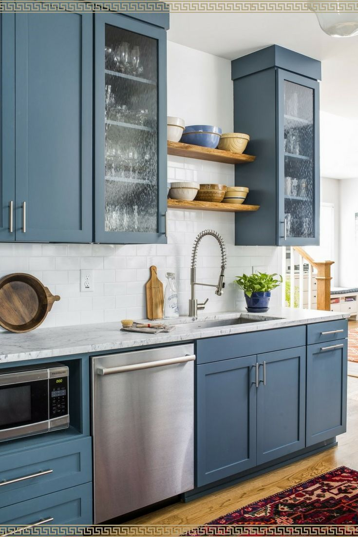 I love blue kitchen cabinets! Painted? Or maybe they just came that way? I love this modern country kitchen idea #ad & I love blue kitchen cabinets! Painted? Or maybe they just came that ...