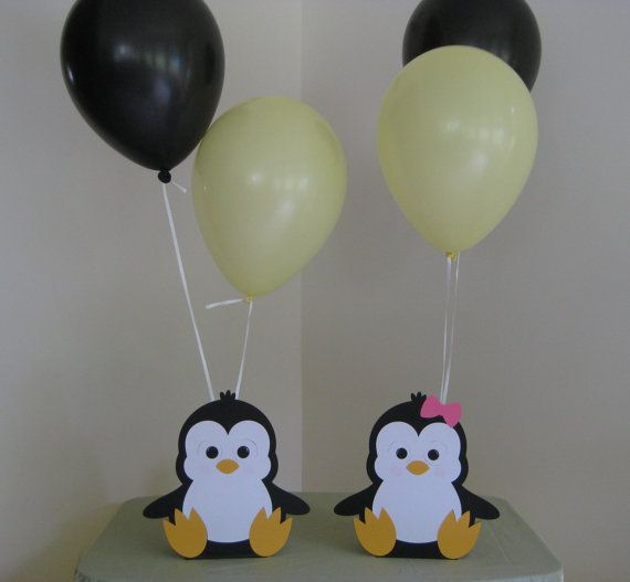 You will receive 2 9 paper pieced penguin table centerpiece balloon holders.    Great for the guest tables or the cake table. They are single sided