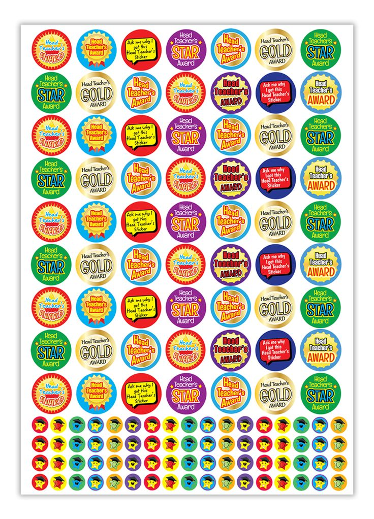 1310 stickers with various Head Teacher's Award messages such as Star Award, Gold Award, Ask me why I got this Head Teacher's sticker.  These best-value Bumper Sticker Packs each contain 10 identical A4 sheets with 25mm and 10mm stickers as shown.