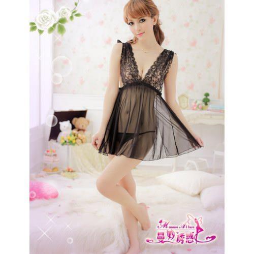 A322 Black  - 2pc : dress, gstring Free Size LD 70-90cm, Hips 80-100cm, Bra 32-36     IDR 94.000
