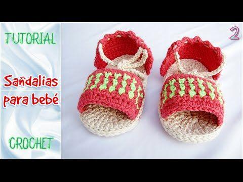Sandalias a crochet para bebE, paso a paso, TODOS LOS TALLES (parte 2 ...