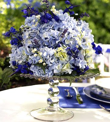Hydrangea, delphinium, lily-of-the-valley blue reception wedding flowers,  wedding decor, wedding flower centerpiece, wedding flower arrangement, add pic source on comment and we will update it. www.myfloweraffair.com can create this beautiful wedding flower look.