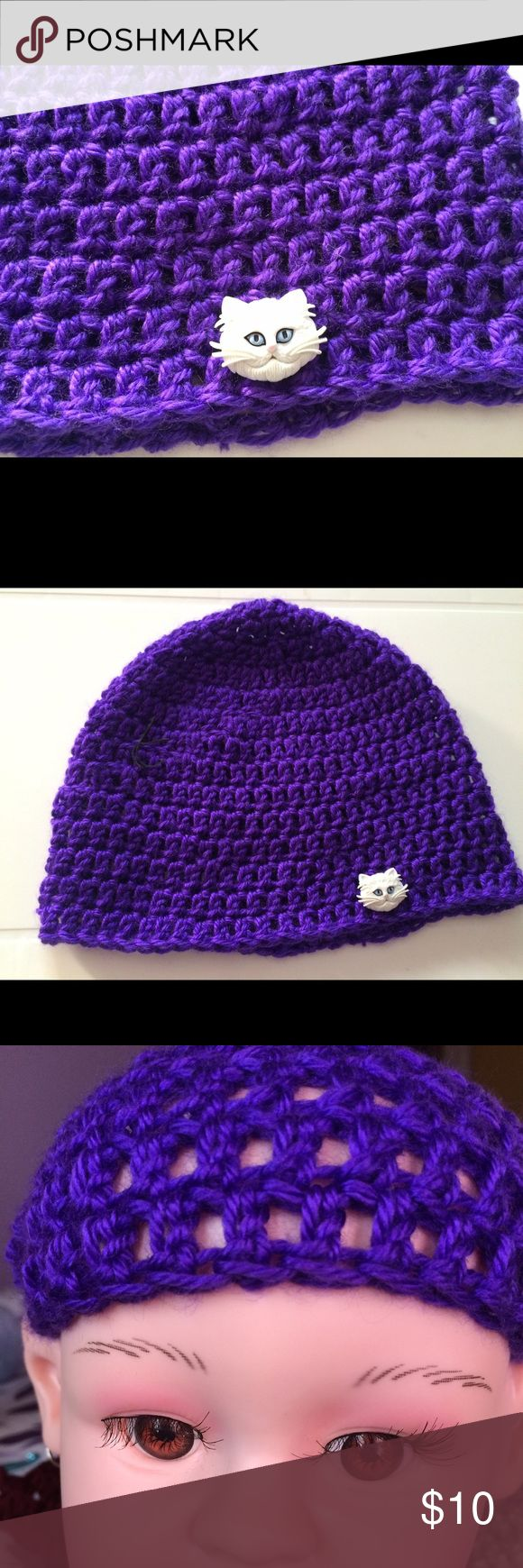 """Crochet Child's beanie, stretchy - * Buttons may vary slightly based on stock. This classic  beanie matches everything. Whether you're looking for a nice neutral hat for everyday wear or your little one likes to show a little attitude.  Newborn baby head circumference, 13″ – 14″, Hat height = 5.5 to 6″ Baby 3 to 6 months, Head Cir, 14″ – 17 """", Hat height= 6.5 – 7″ baby 6-12 months, 16″-19″ head cir., hat length=6.5-7″ toddler-preschooler (12 months-3 yrs), 18″-20″ head cir., hat length=7″…"""