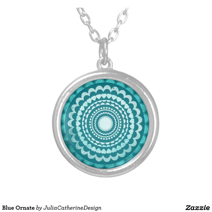 Blue Ornate Round Pendant Necklace