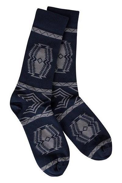 Men's Aztec Socks, Navy