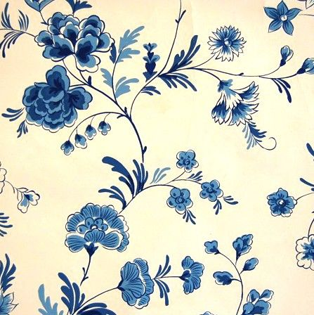blue floral vintage wallpaper by elementstyle on Etsy, $100.00