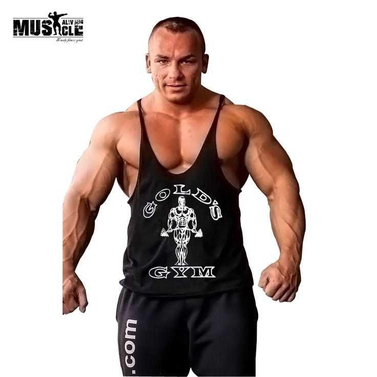 MUSCLE ALIVE Gold Gyms Clothing Tank Top Fitness Men Bodybuilding Stringer Singlet Sleeveless Shirt Vest Cotton Body Sportswear