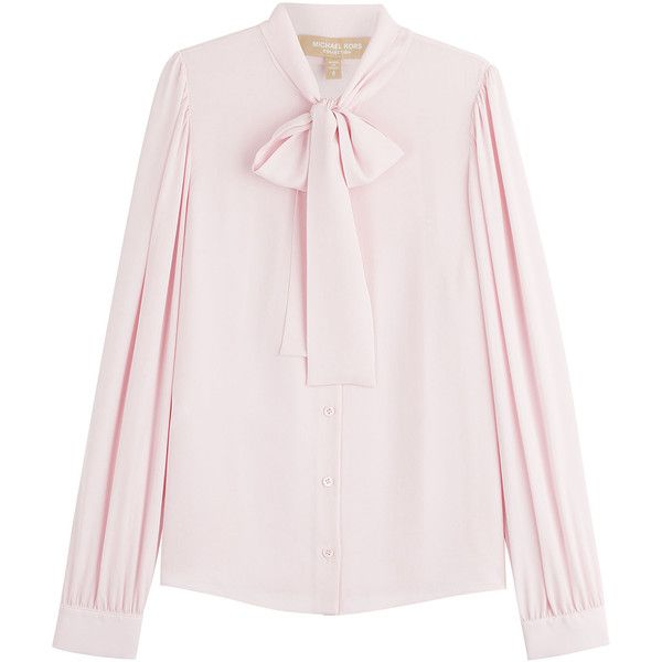 Michael Kors Collection Bow Front Silk Blouse ($920) ❤ liked on Polyvore featuring tops, blouses, shirts, rose, bow blouse, michael kors shirts, michael kors blouse, long sleeve tops and long sleeve shirts
