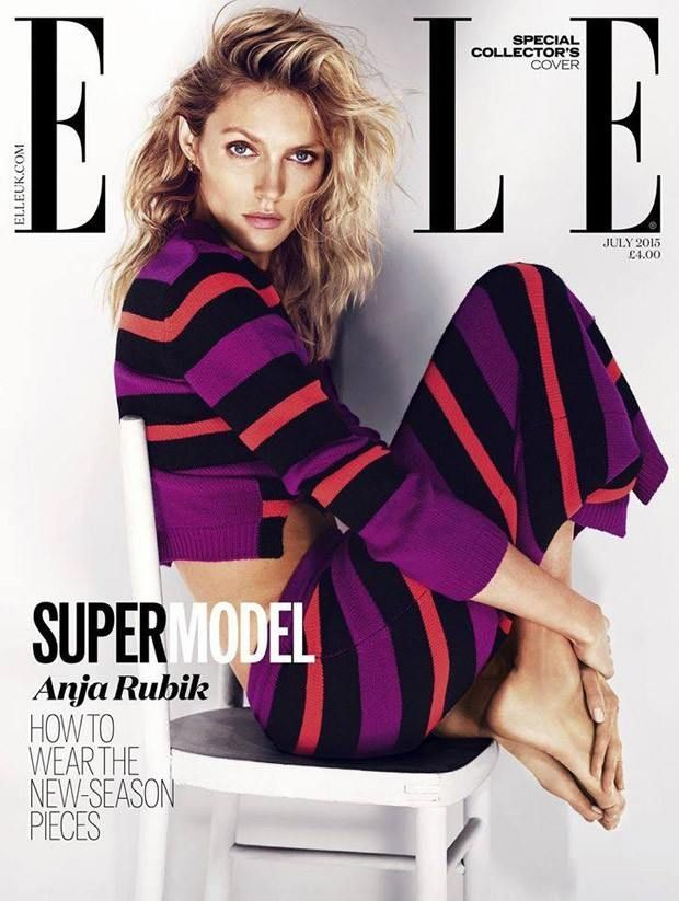 Anja Rubik wearing the Fendi PreFall15 skirt and top on the special collector's cover of ELLE UK