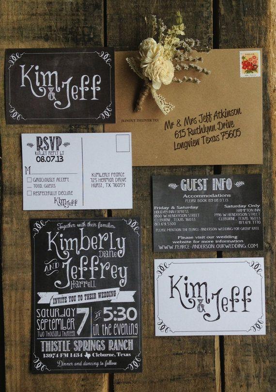 Printable Chalkboard Wedding Invitation by ShabbyShackCrafts, $63.00